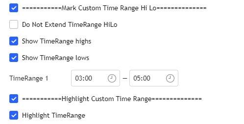 settings for custom time range
